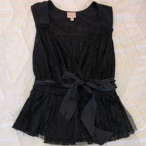 Tracy Reese Lace & Silk Black Tank Top